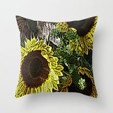 For the Sake of Sunflowers Throw Pillow