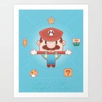 super mario Art Prints featuring Super Mario by Richard Howard