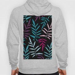 leafs tropical fern palm. Magenta pink purple sky blue aqua silhouette on black background Hoody