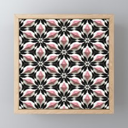 Pastel Pink White Black 3D Stars Floral Pattern Framed Mini Art Print