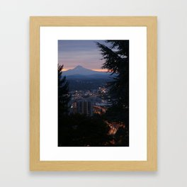 Mount Hood over Portland Framed Art Print