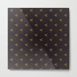 Gold Ek Onkar / Ik Onkar pattern on black Metal Print