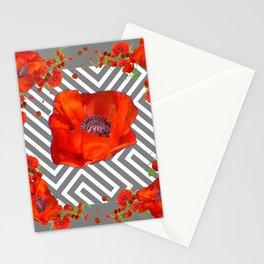 ORANGE POPPIES MODERN ART Stationery Cards