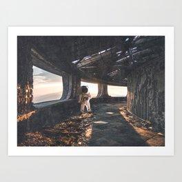 Astronaut in an Abandoned Building Kunstdrucke