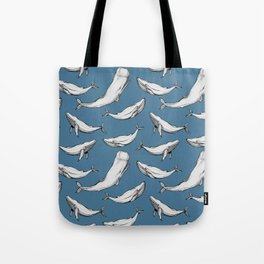 Whales in blue Tote Bag