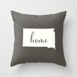 South Dakota is Home - White on Charcoal Throw Pillow