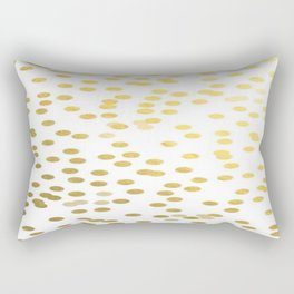 Gold Foil Confetti Polka Dots Brushstroke Watercolor Ink Holiday Inspiration Party Abstract Pattern Rectangular Pillow