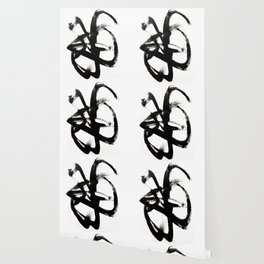 Brushstroke 4 - a simple black and white ink design Wallpaper