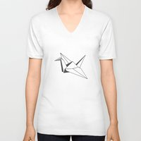 origami V-neck T-shirts featuring origami by elyinspira