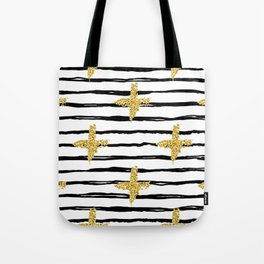 Gold glitter cross and black stripe Tote Bag