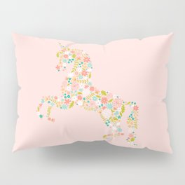 Floral Unicorn in Pink Pillow Sham