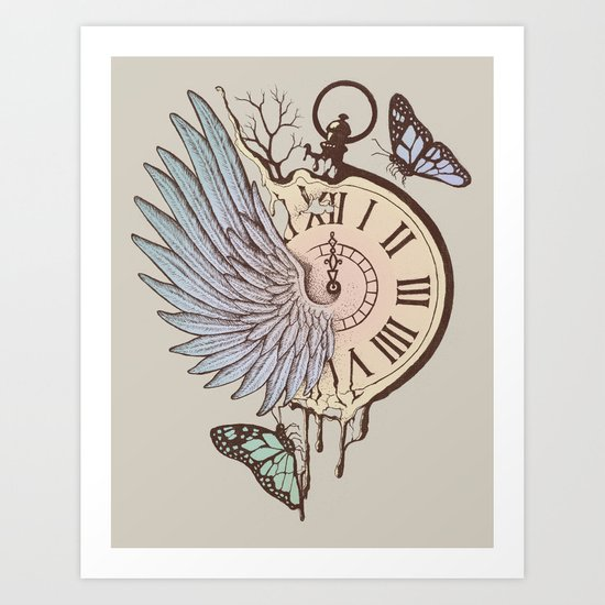 Le Temps Passe Vite (Time Flies) Art Print