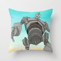 iron giant Throw Pillows featuring Iron Giant by 117 Art