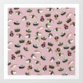 Sushi on Pink Art Print