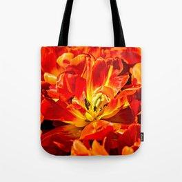 Macro view of red tulips Tote Bag