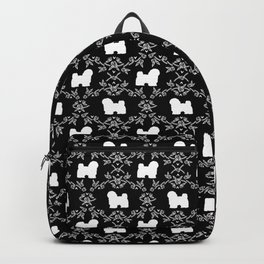Havanese black and white silhouette dog breed pet art dog pattern Backpack