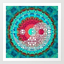 Mystic Yin and Yang - Aqua, Blue and Red Art - Sharon Cummings Art Print