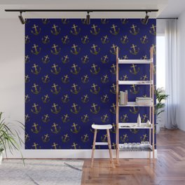 Gold sparkles sparkly anchor pattern navy blue Wall Mural