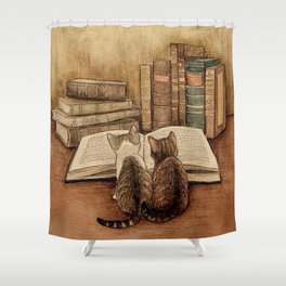 Kittens Reading A Book Shower Curtain