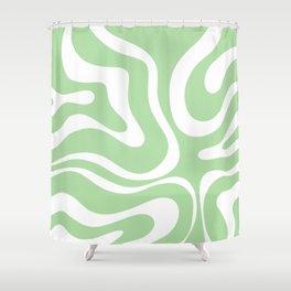 Modern Retro Liquid Swirl Abstract Pattern in Light Matcha Tea Green and White Shower Curtain