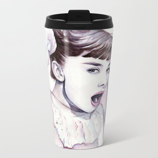 Audrey Hepburn Watercolor Actress Breakfast at Tiffanys Metal Travel Mug