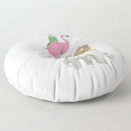 A Stack Of Animals with elephant, lion, flamingo, monkeys and snake Floor Pillow