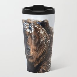 Alaskan Grizzly in Snow Travel Mug