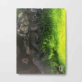 Fossil Fuels Original Mixed Media Abstract Painting, Contemporary Artist Design, Close Up Photograph Metal Print