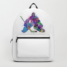 Boy Ice Hockey Goalie 2 Colorful Gift Watercolor Sports Art Backpack