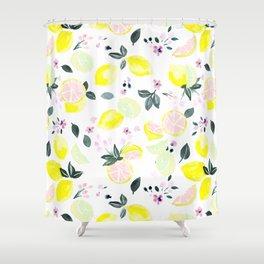 Pink Lemonade Citrus and Flowers Shower Curtain