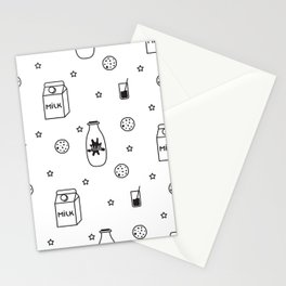 Doodle milk star cookies pattern Stationery Cards