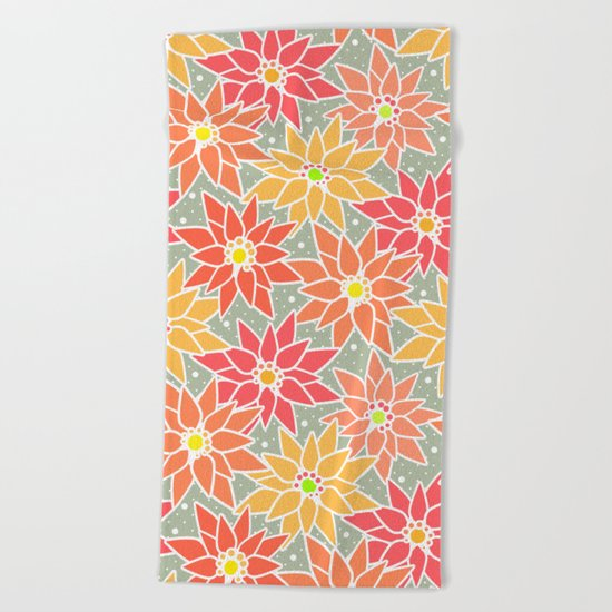 Poinsettia. Retro. Beach Towel