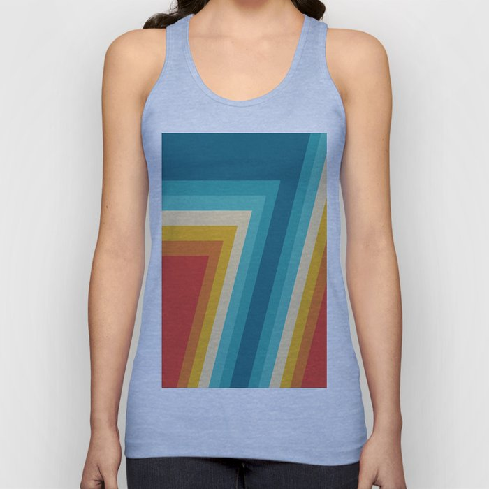 Colorful Retro Stripes  - 70s, 80s Abstract Design Unisex Tank Top