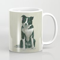 border collie Mugs featuring border collie by phil art guy