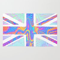 hologram Area & Throw Rugs featuring Holographic Union Jack  by Berberism