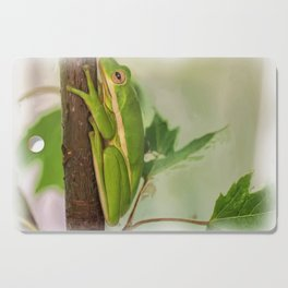 Painted Green Tree Frog Cutting Board