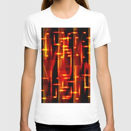 Luxurious red stripes and metallic orange triangles of fire create abstraction and glow. T-shirt