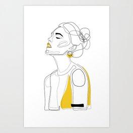 Yellow Lip Art Print