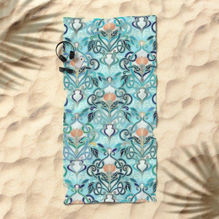 Ocean Aqua Art Nouveau Pattern with Peach Flowers Beach Towel