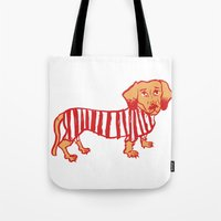 daschund Tote Bags featuring Sausage Dog by sophieheywood