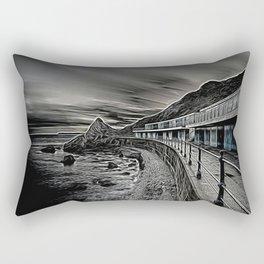 Meadfoot Beach Huts - Digital Rectangular Pillow