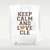nfl Shower Curtains featuring LOVE CLE BROWNS II by C. Wie Design