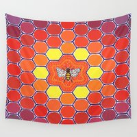 sacred geometry Wall Tapestries featuring Bee Sacred Geometry by Elspeth McLean