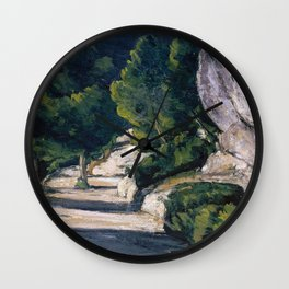 1870 - Paul Cezanne - Landscape. Road with Trees in Rocky Mountains Wall Clock