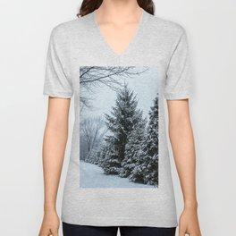 Snowy Christmas Tree Unisex V-Neck