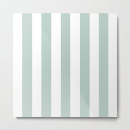 Jet stream blue - solid color - white vertical lines pattern Metal Print
