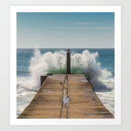 Crashing waves on a jetty Art Print