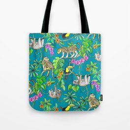 Rainforest Friends - watercolor animals on textured teal Tote Bag