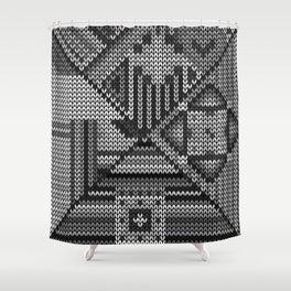 grey knit Shower Curtain