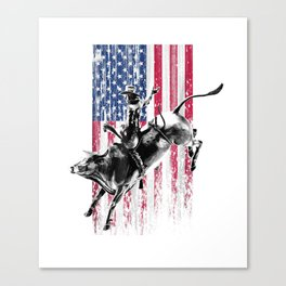Rodeo Bull Rider Patriotic American Flag T-Shirt for Cowboys Canvas Print